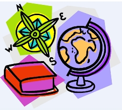 compass rose, globe and book